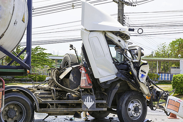 truck with chemical tank accident