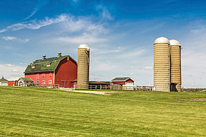 American country farm with silos